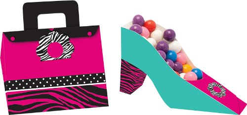 4-Count Party Treat Boxes, Pink Zebra Boutique Shoe and Purse Shaped (Spa Snack Ideas)