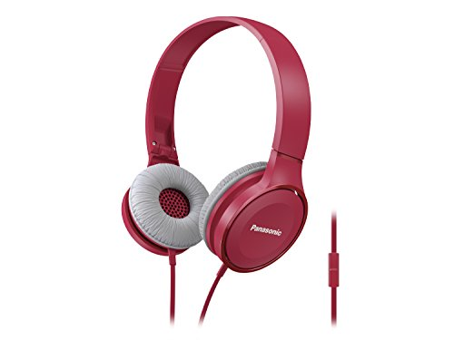 Panasonic On Ear Stereo Headphones RP-HF100M-P with Integrated Mic and Controller, Travel-Fold Design, Matte Finish, Pink