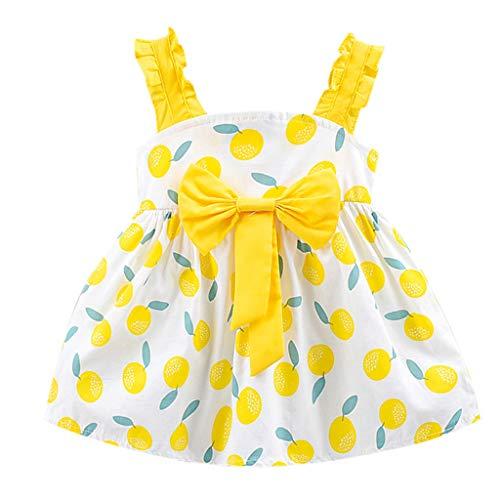 Lovygaga Toddler Kid Baby Girl Summer Lovely Lemon Print Bowknot Ruffle Sling Swing Comfy Soft Cotton Dress