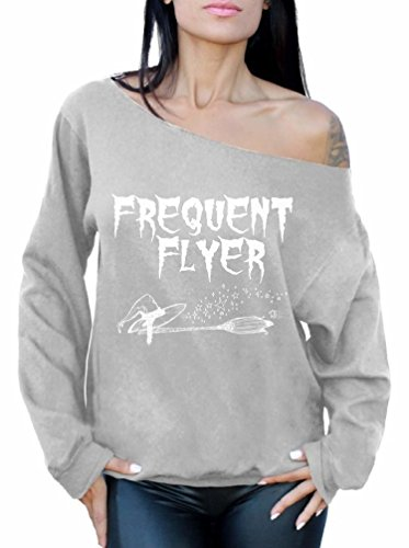 Awkward Styles Frequent Flyer Sweater Halloween Sweatshirt Funny Witch Top Grey (Halloween Jumper)