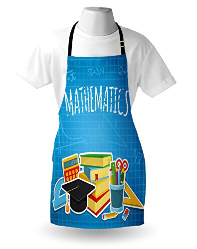 Lunarable Mathematics Classroom Apron, Education Science Concept School and College Supplies Set Books Cap, Unisex Kitchen Bib Apron with Adjustable Neck for Cooking Baking Gardening, Multicolor by Lunarable (Image #2)