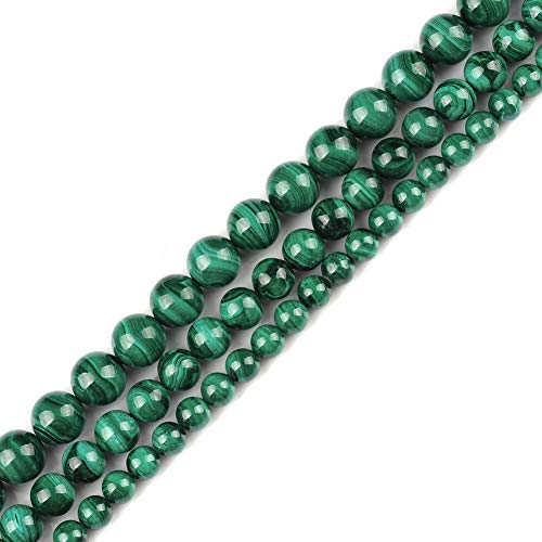 """Genuine Natural Real Smooth Round Malachite Gemstone Beads Loose Beads for Jewelry Making Approxi 15.5"""" (Malachite, 8MM)"""