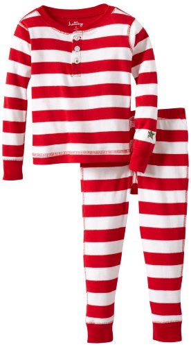 Hatley Little Girls' Pajama Set-Candy Cane Stripes, Red/White, 2T