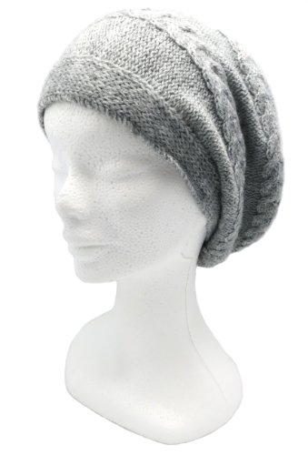 Handmade Thin PURE Alpaca Slouchy Beret Hat - French Gray (Made to Order)