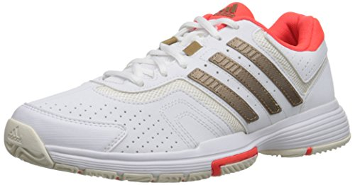 adidas Performance Women's Barricade Court W Tennis Shoe, White/Copper/Solar Red, 11 M US