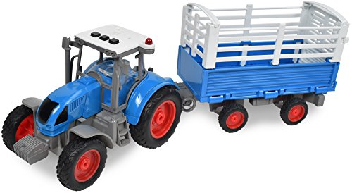 Maxx Action 1:16 Scale Realistic Action Farm Truck Tractor with Colapsing Wall Trailer, Moving Tailgate, Various Push-Button Lights and Sounds and Durable Diecast for Indoor and Outdoor Play
