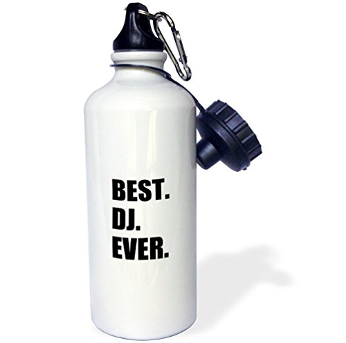 - 3dRose Best DJ Ever-Fun Job Pride Gifts for Music Deejay-Black-Sports Water Bottle, 21oz (wb_179774_1), Multicolored