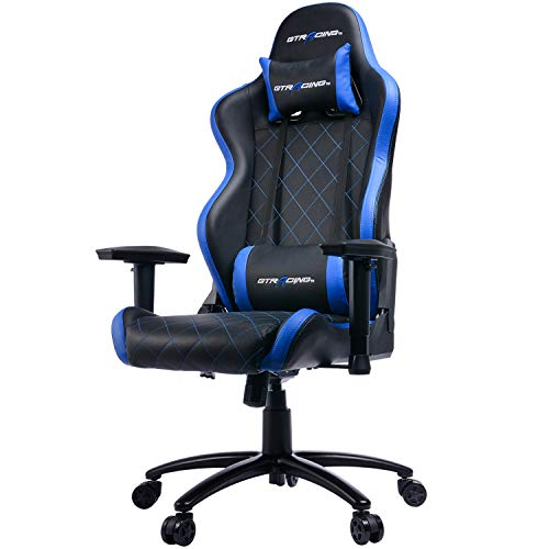 Cheap GTRACING Racing Gaming Chair Ergonomic PU Leather High-Back PC Computer Chair Adjustable Height Professional E-Sports Chair with Headrest and Lumbar Pillows GT902 Blue