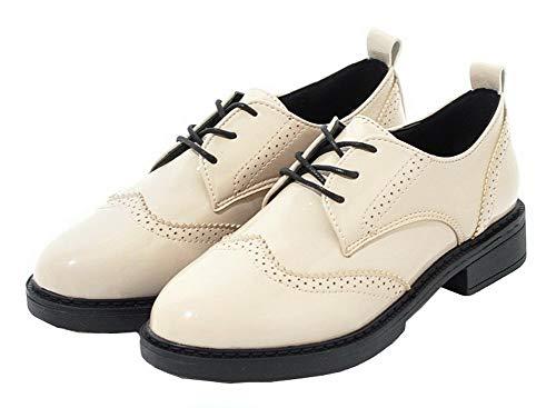 Leather Low Lace Beige Up Solid Toe Women's Heels Patent Pumps Round TSDDG004453 Shoes AalarDom qwxpt