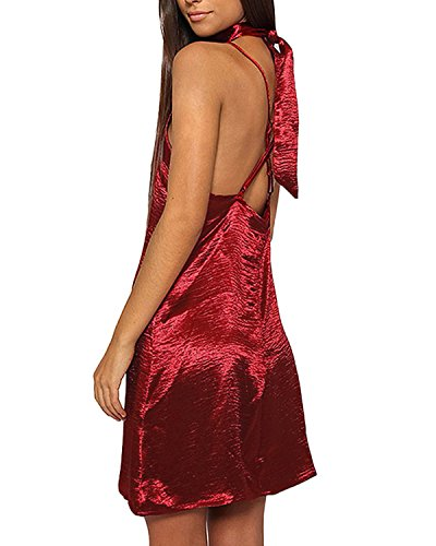 ZANZEA Mini Vestidos Corto Lápiz Arnes Elegante V Cuello sin Espalda Backless Collar Mujer Vino rojo