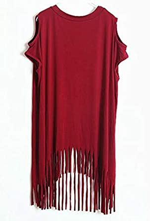 Nite closet Punk Rock Clothing for Women Long Tunic Dresses Fringe Tshirt Stud