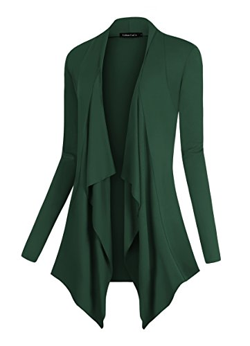 Urban CoCo Women's Drape Front Open Cardigan Long Sleeve Irregular Hem (M, Dark (Green Sweater Top)