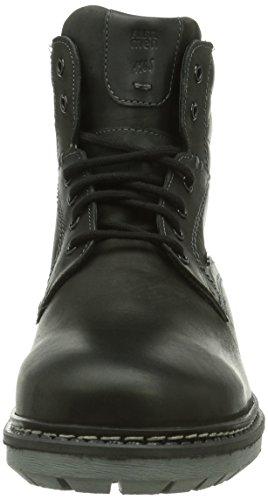 de bajo Noir 51 Stone caño cuero FRETZ Schwarz men botas hombre Negro de fAO1qp