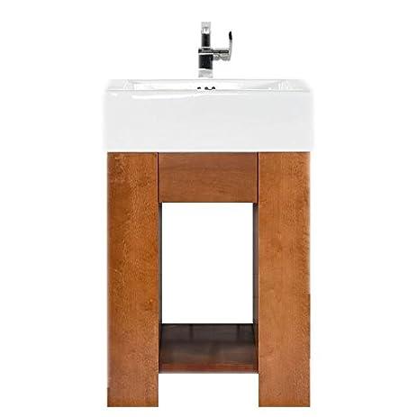 MAYKKE Zenia Contemporary Bathroom Vanity Set In Cinnamon - 24 contemporary bathroom vanity