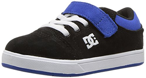 DC Boys' Youth Crisis Skate Shoe, Black/Blue, 5 M M US Toddler