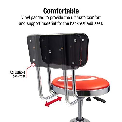 Sunex 8516 Hydraulic Shop Stool, High-Polished Chrome Finish, Hydraulic Seat Adjustment, Vinyl Padded Adjustable Seat…