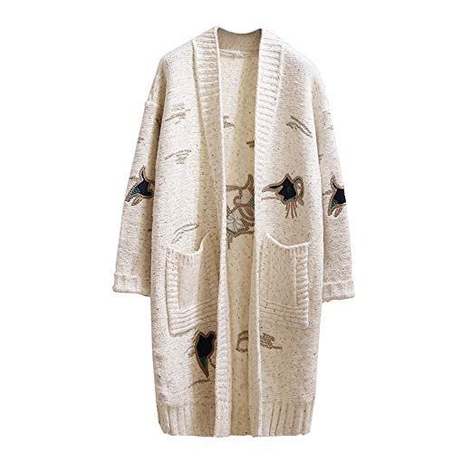 Suelto Cardigan Bordado onesize En Suéter Invierno Otoño V Abrigo Suéter 5 Escote De Coreana Sección Y Las 1 Larga Mujeres La Versión El wUSa0x