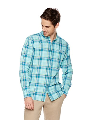 Isle Bay Linens Men's Long Sleeve Cover Placket Woven Shirt Slim Fit L Sea - Fashion Linen