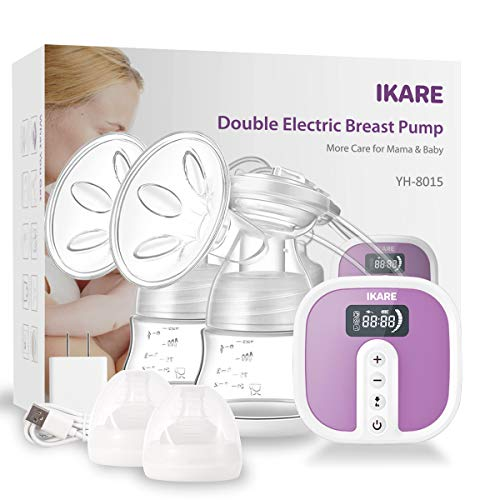 IKARE Hospital Grade Double Breast Pumps, Electric Portable Ultra Quiet Rechargeable Breast Pump with Comfortable 45 Strong Suction Levels, Ideal for Moms on The go