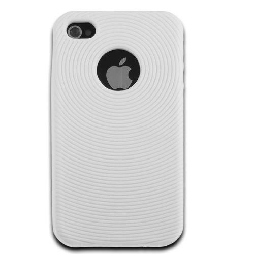 deinPhone - iPhone 4 4S Case Schutzhülle Schutz Handy Hülle Bumper Tasche Etui SOFT Case Rundmuster in Weiß
