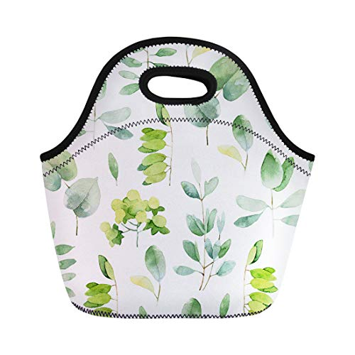 Semtomn Lunch Tote Bag Green Leaf Herbal Pattern Leaves Watercolor Eucalyptus Nature Botany Reusable Neoprene Insulated Thermal Outdoor Picnic Lunchbox for Men Women
