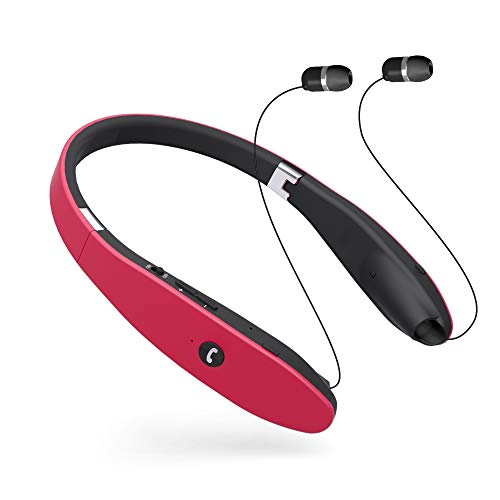 Bluetooth Headset, Bluetooth 4.1 Wireless Stereo Headphones, Retractable and Foldable Neckband Style Earbuds (Red)