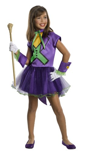 DC Super Villain Collection Joker Girl's Costume with Tutu Dress, -