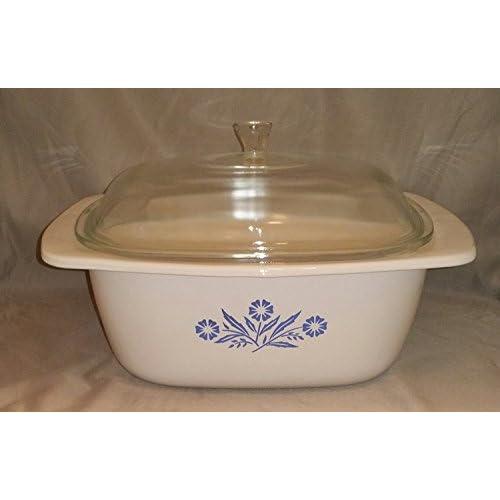 Vintage Large Corning Ware Cornflower Blue Glass 4 Quart Dutch Oven w/ Lid - P-34-B