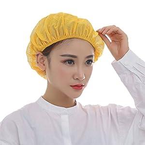 Nanxson TM 5X Unisex Mob Caps Mesh Industrial Workshop Protective Working Elastic Kitchen Hats Hair Net CF9023 (Yellow)
