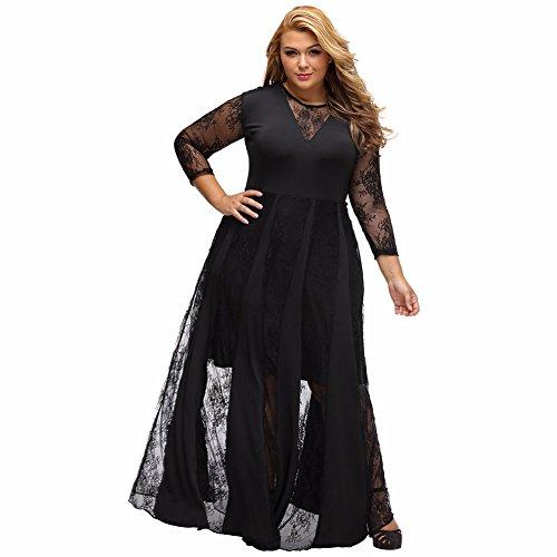 Prom Black de Lace elegante amp;S MEI Maxi Noche vestido mujer Vintage Larga vestido fiesta La wqfX6B