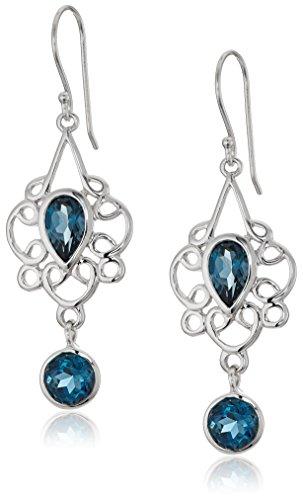 Sterling Silver London Blue Topaz Filigree Pear Drop Earrings