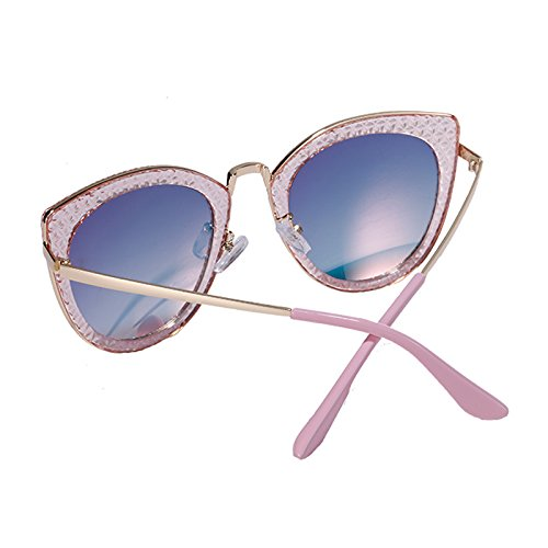 Tide y Europeo Grey Blue WLHW sol Bright Street Azul Cat Color Retro Gafas Mujer americano Black de Polvo Eyes Powder w0XIX