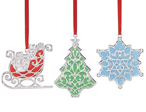 Lenox Merry & Bright Shimmer Iridescent 3-Piece Set Clear Gem 3 Ornaments A Sleigh, a Christmas Tree, and a Snowflake