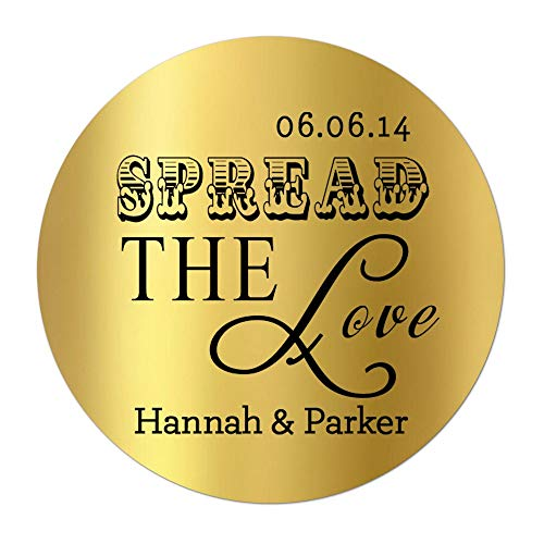 (Gold Wedding Stickers for Favors - Spread the Love - Personalized and Custom)