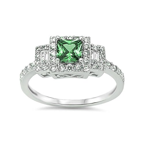 Oval Emerald 3 Stone Ring - 6