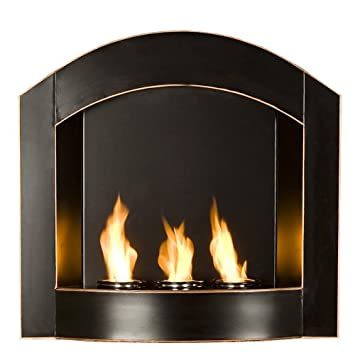 Brilliant Southern Enterprises Black Arch Top Wall Mount Gel Fuel Fireplace Home Remodeling Inspirations Cosmcuboardxyz