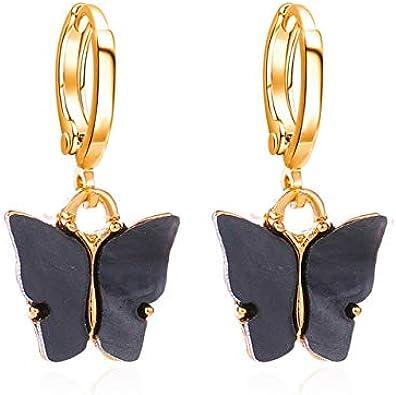 6 pendientes de mariposa de color para mujeres niñas nueva moda simple acrílico geométrico pendientes de gota joyería