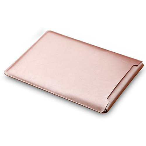 LAPOND Leather Sleeve Case For MacBook 12 Inches,Laptop Case Bag with Mouse Pad (Rose gold)