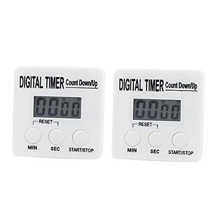 eDealMax 2pcs cronómetro digital de cocina dígitos grandes fuerte alarma Soporte magnético y soporte retráctil Blanca