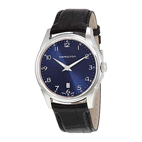 Hamilton Men's Jazzmaster Stainless Steel Swiss-Quartz Watch with Leather Calfskin Strap, Black, 20 (Model: H38511743)