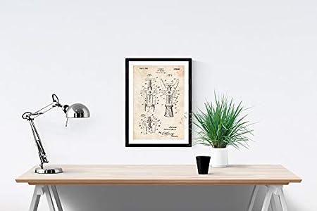 Poster de patente de sacacorchos. Lámina para enmarcar. Poster con diseños, patentes, planos de inventos famosos. Tamaño (A3)