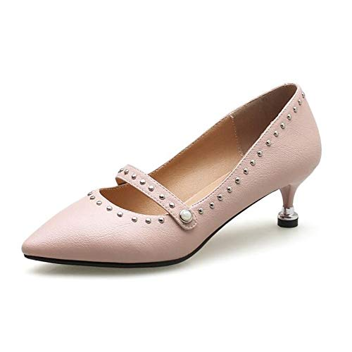 QOIQNLSN Shoes Women'S Pink Polyurethane Pu Heels Heel Beige Cone amp; Black Fall Basic Comfort Spring Pink Pump rwrUqn5C