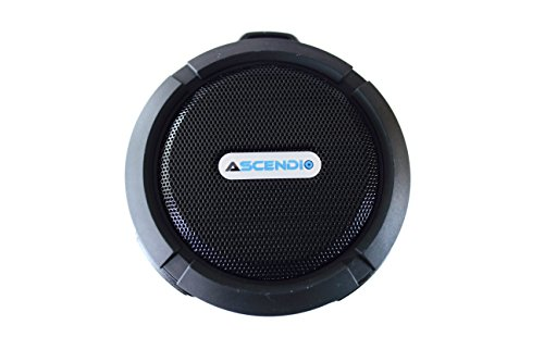 ASCENDIO Shower Speaker, Wireless, Waterproof, Loud 5W Speaker, Suction Cup, Aluminum Alloy Clip for Hanging, Built-in Mic, Hands-Free, Works with iPhone, Android, and Bluetooth enabled devices, Black