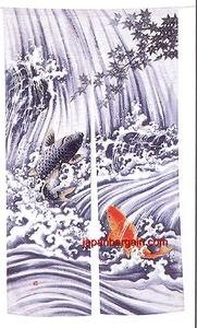 Japanese NOREN Doorway Curtain Koi Fish 35x60in pcos-59 (Koi Fish Window Curtains)
