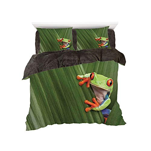 All Season Flannel Bedding Duvet Covers Sets for Girl Boy Kids 4-Piece Full for bed width 4ft Pattern by,Animal Decor,Red Eyed Tree Frog Hiding in Exotic Macro Leaf in Costa ()