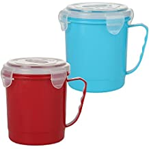 Home-X Microwave Soup Mug with Secure Snap Close Lid, 22 oz, Set of 2 Colors (Red and Blue)