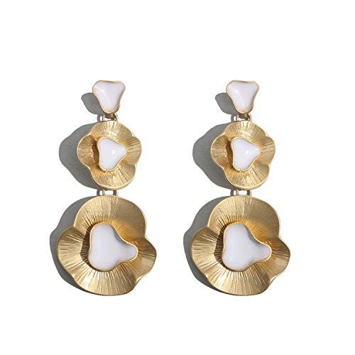 YY Cherry Vintage Gold Color Long Drop Earrings For Women Fashion Flower Leather Dangle Statement Earring Bohemian Maxi Jewelry,E0729W