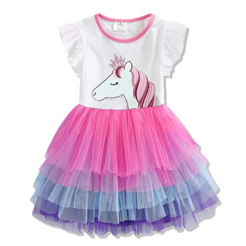 DXTON Girls Summer Short Sleeve Tutu Outfit Dress Party Wedding Birthday Dresses SH4590-5T]()