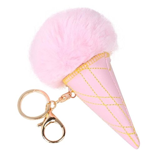 Gelato Pendant Light (Ice cream key ring,Allywit Ice Cream Ball Keychain Bag Plush Car Key Ring Car Key Pendant (Pink))