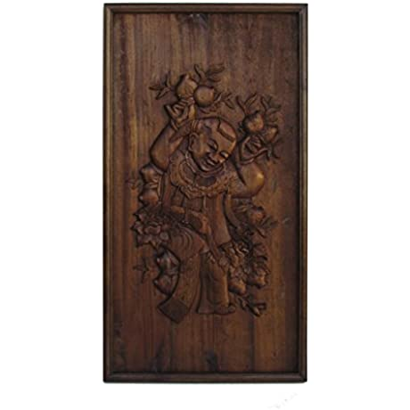 Chinese Handcarved Relief Kid Peach Motif Wall Panel Art Acs782